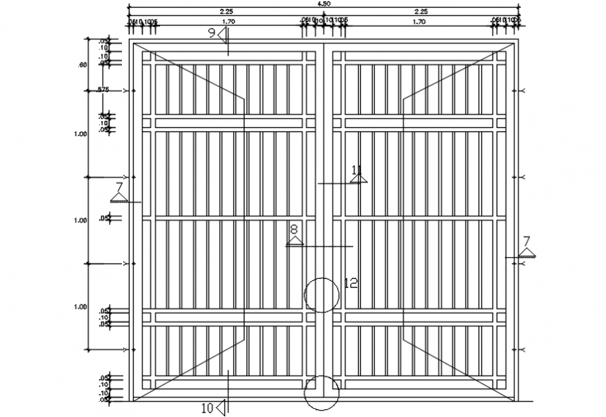 Double door main gate elevation cad drawing details dwg file