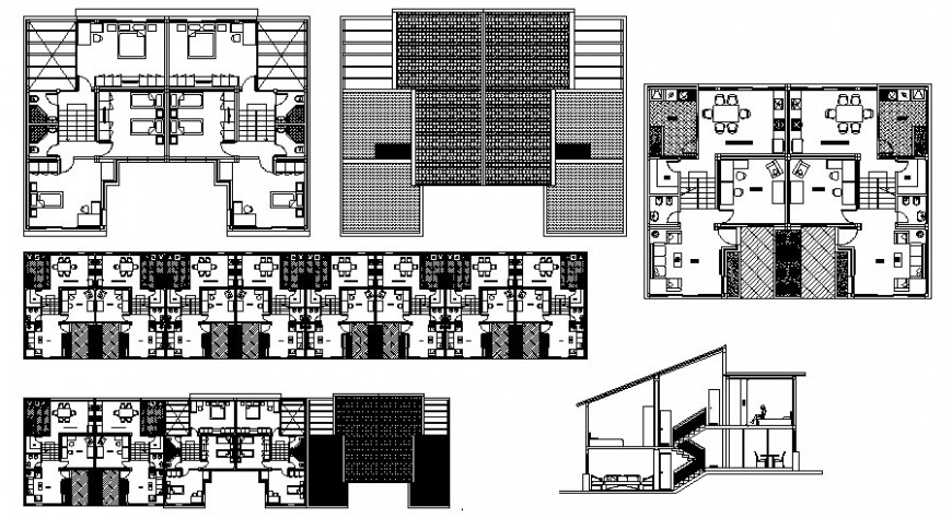 Drawing of apartments 2d view layout plan in autocad