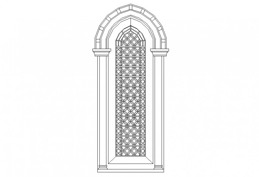 Drawing of multifoil single shutter arch AutoCAD file