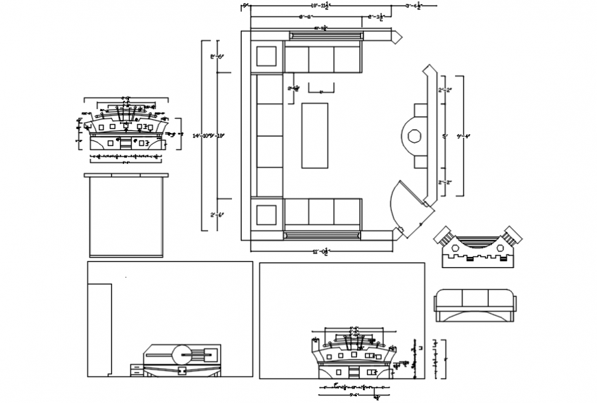 Drawing room layout plan and furniture with carpentry drawing details dwg file
