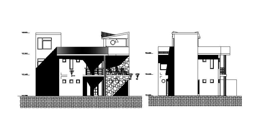 Drawings 2d view housing apartment elevation dwg autocad file