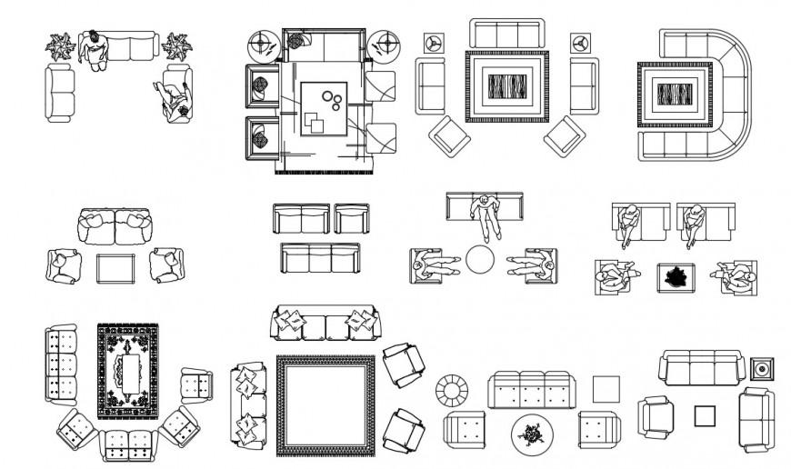 Drawings of living room furniture blocks sofa-set dwg autocad file