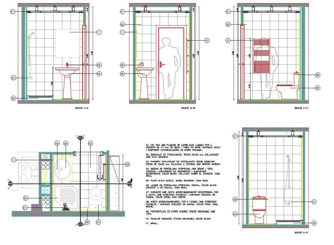Bathroom & toilet detail autocad file