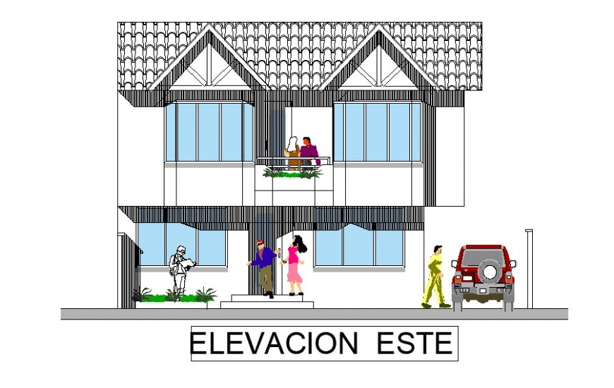 East design of residential area with architectural detail dwg file