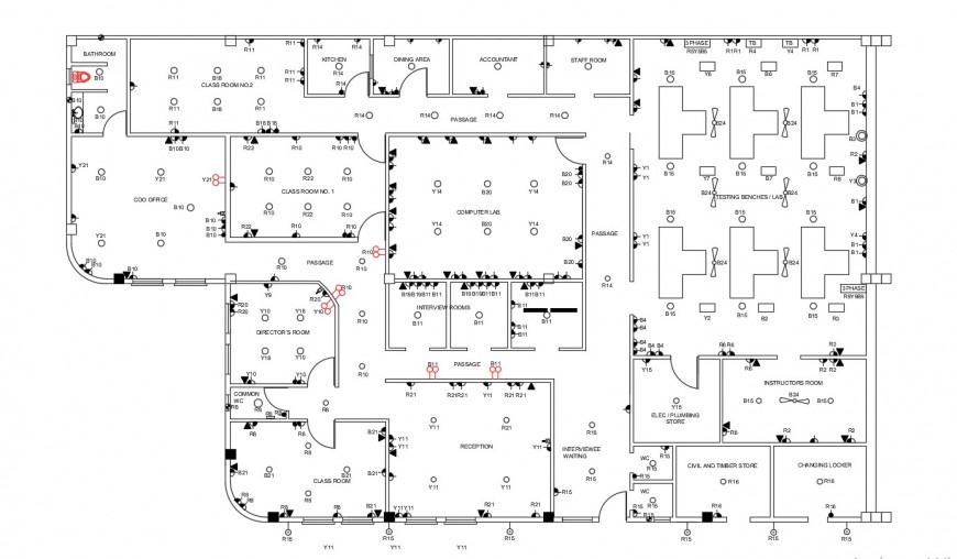 Electric Circuits Flow Diagram 2d View Dwg Autocad File