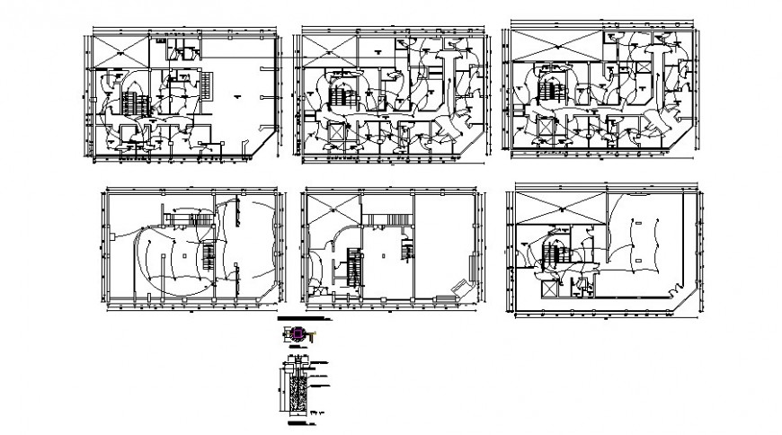 Electrical installation layout plan details for hotel building floor dwg file