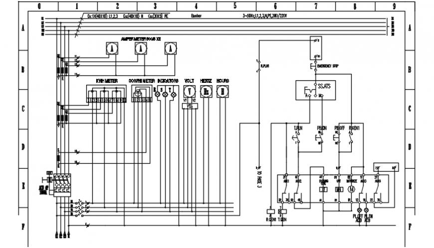 Electrical riser diagram of Gambar wiring genset pasar dwg