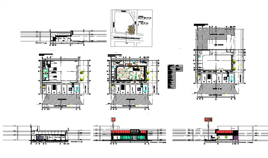 Elevation, plan and section detail of store building 2d view layout file in dwg format
