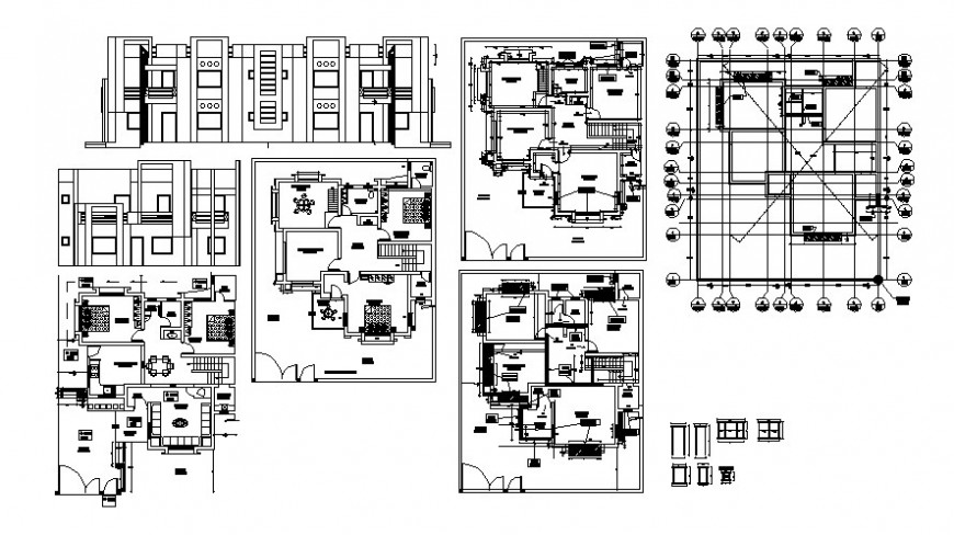 Elevation and layout of housing blocks 2d drawings autocad software file