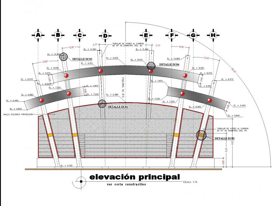 Elevation principal office detail plan layout file