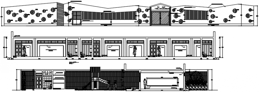 Elevations and sectional drawing details of kinder garden school dwg file
