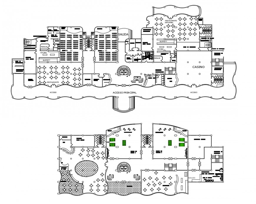 First and second floor distribution plan details of five star imperior hotel dwg file