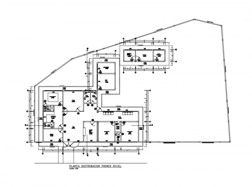 First floor distribution plan details of health center cad drawing details dwg file