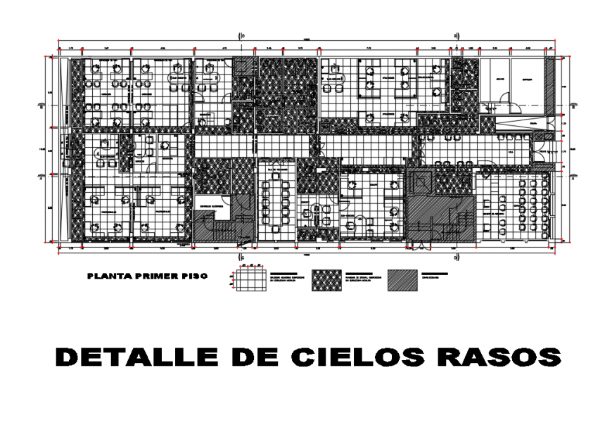 First floor layout plan of office with ceiling construction details dwg file