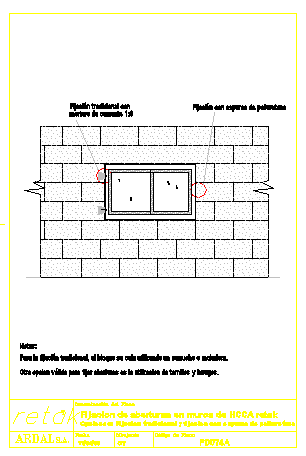 fixation openings in walls design drawing