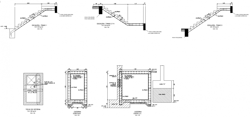 Flat structures plan with detailing dwg file.