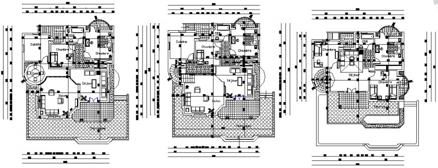 Floor details drawings 2d view of housing bungalow dwg autocad file