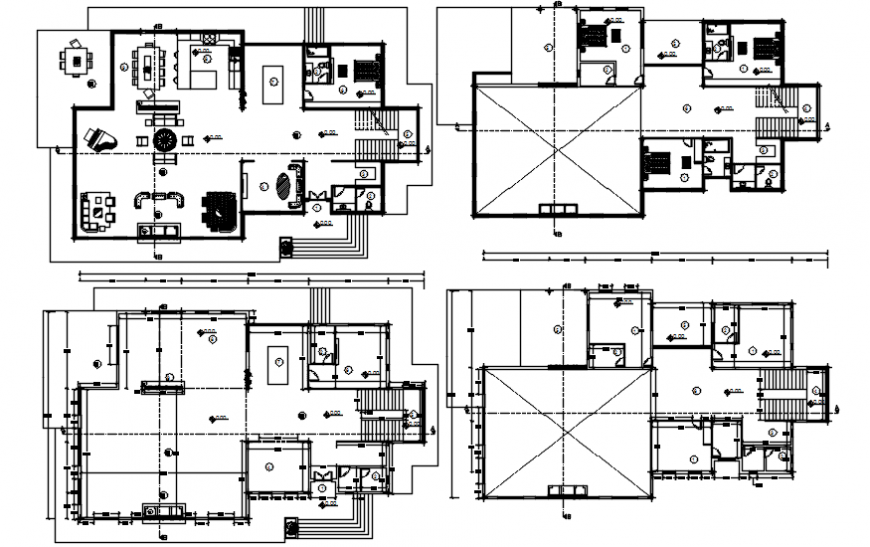 Floor plan distribution and structure details of luxuries villa dwg file