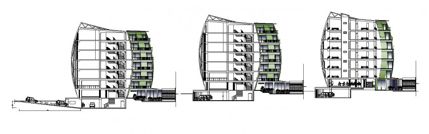 Front, back and side sectional drawing details of four star hotel building dwg file