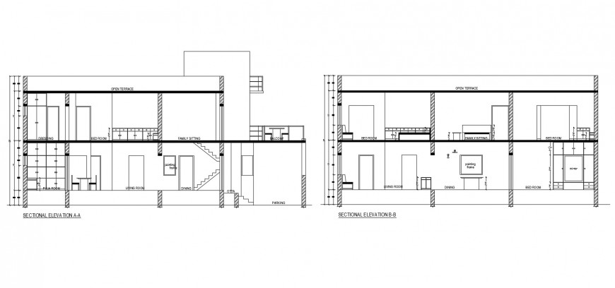 Front and back sectional elevation details of two story house cad drawing details dwg file