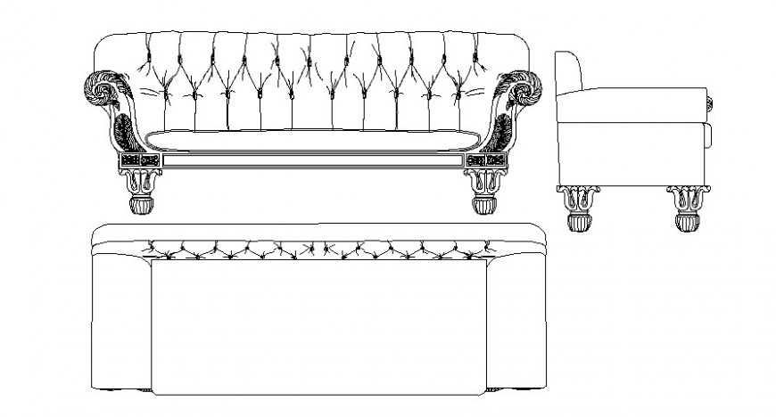 Furniture drawings details of sofa-set 2d view autocad file