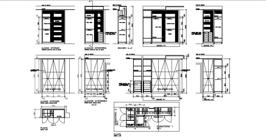Furniture units of closet detail drawing of plan elevation and sections in autocad