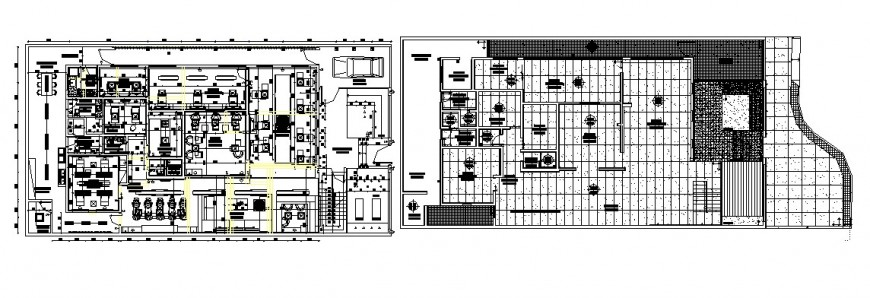 General hospital one floor plan and cover plan cad drawing details dwg file