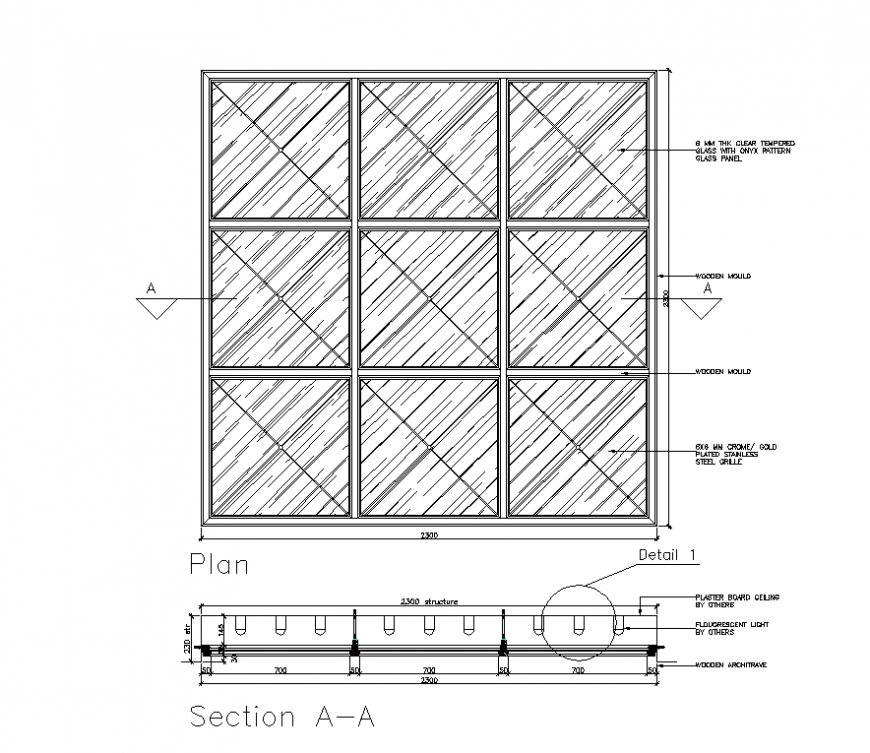 Glass ceiling plan and section layout 2d view autocad file ...