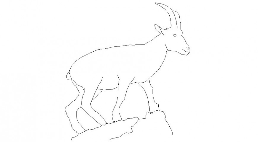 Goat side view in animal block of AutoCAD file