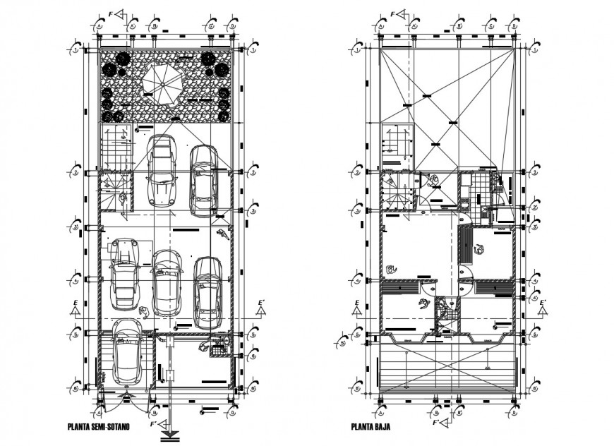 Ground and first floor distribution plan details of residential house dwg file