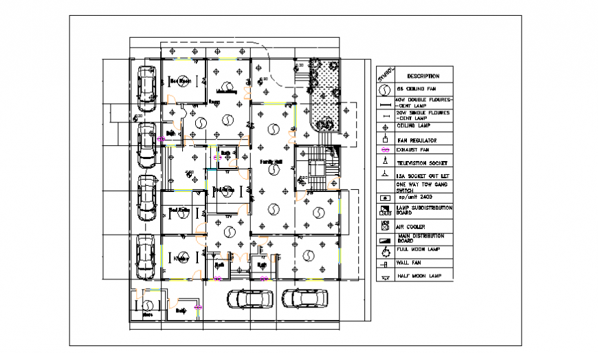 Ground Floor Electrical Installation Plan Design Of Apartment House Design Drawing