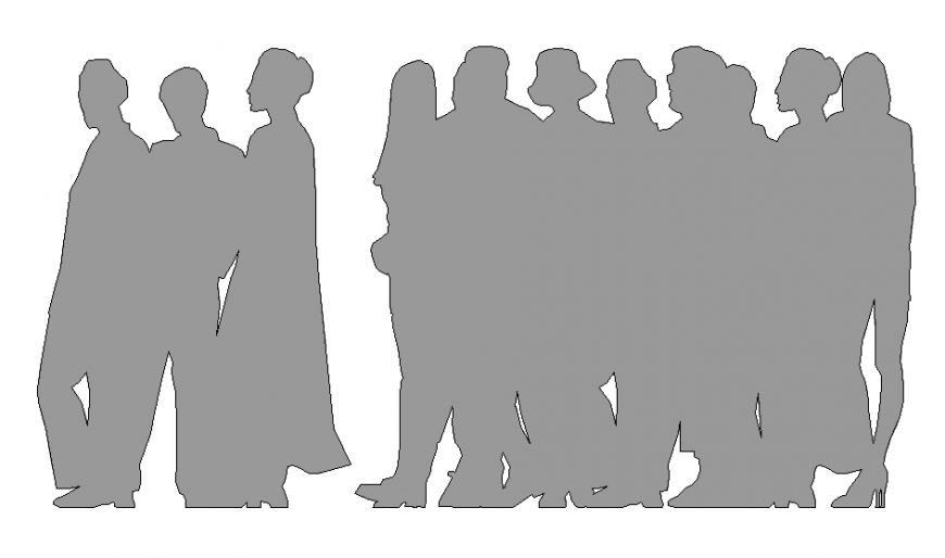 Group of standing people blocks cad drawing details dwg file