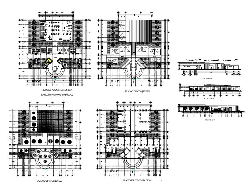 Gym building structure detail elevation 2d view layout file