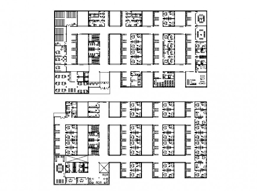 Health center two floors distribution layout plan cad drawing details dwg file