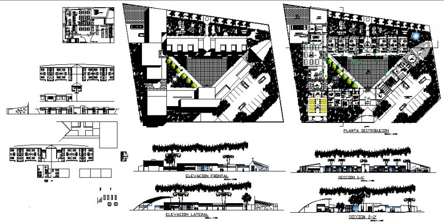 Higher secondary school building elevation, section and floor plan cad drawing details dwg file