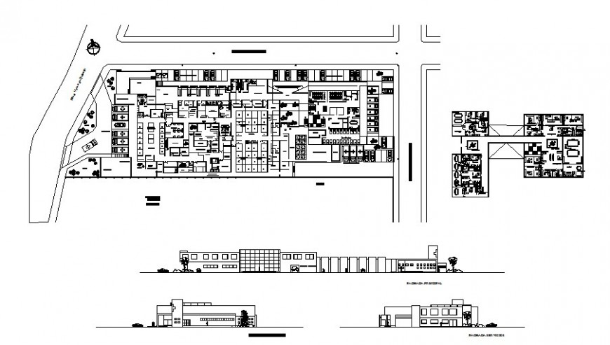 Hospital all sided elevation, distribution plan and floor plan cad drawing details dwg file