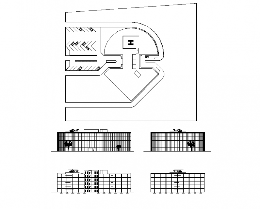 Hospital building elevation 2d view layout file