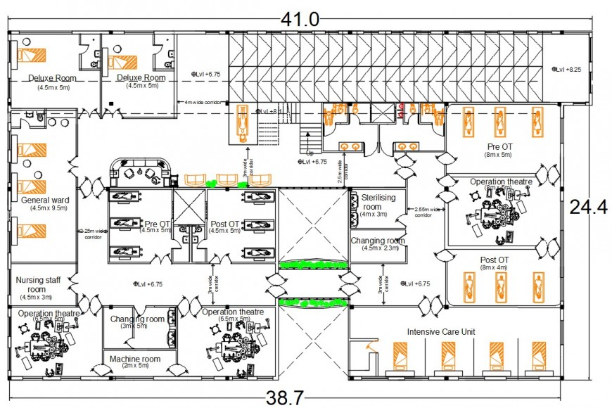Hospital first floor distribution plan with furniture drawing details dwg file