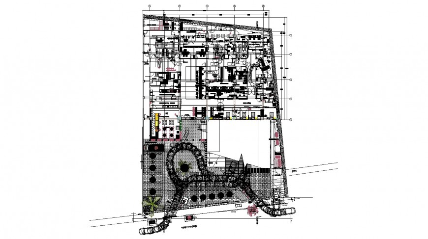 Hospital layout plan drawing in dwg AutoCAD file.