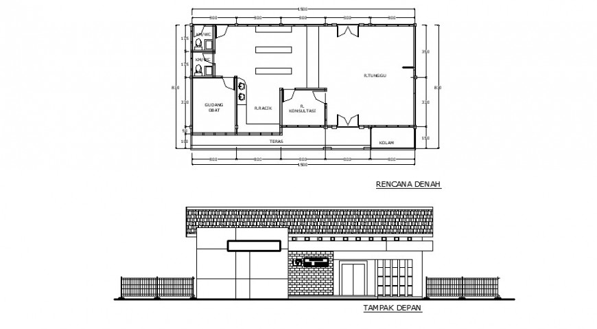 Hospital pharmacy plan and elevation in auto cad software