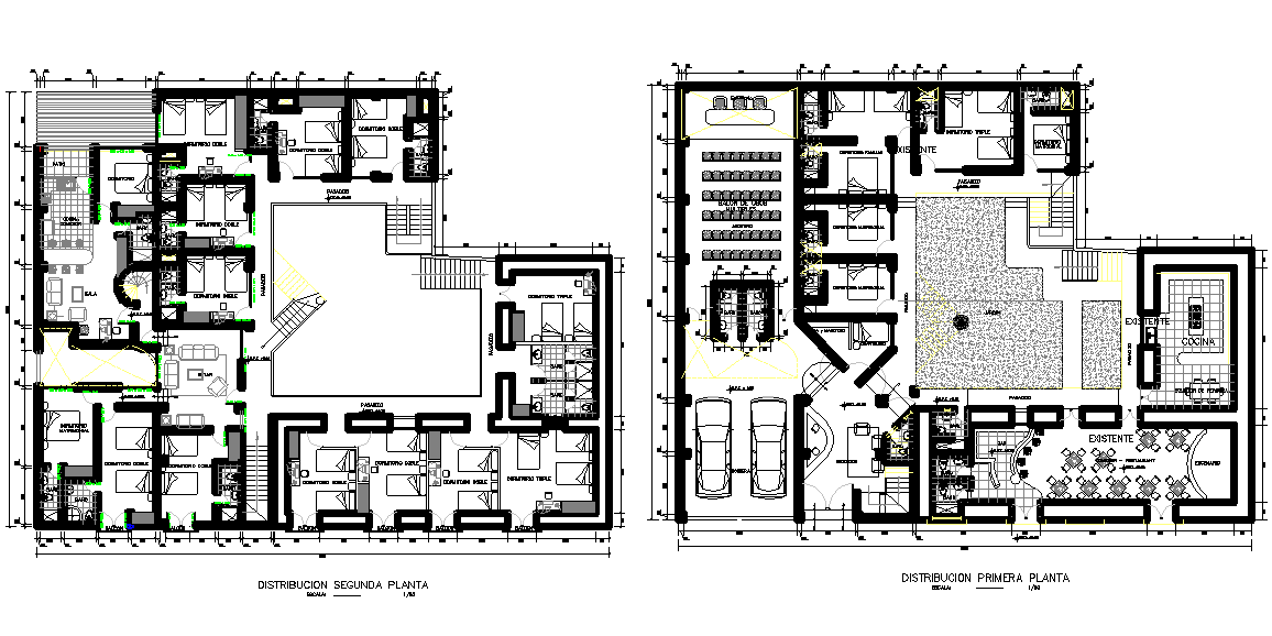 hotel plan design dwg file