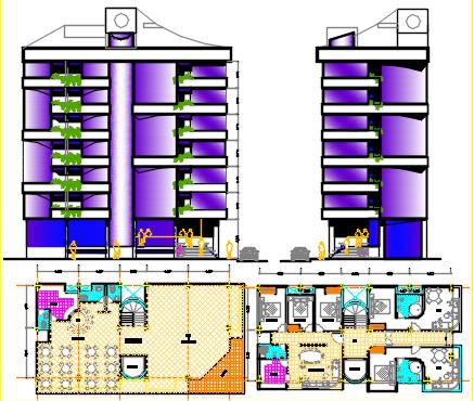 hotel seven floors dwg file