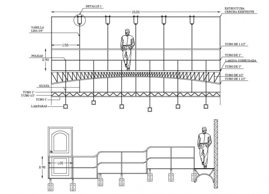 House balcony elevation and section cad drawing details dwg file