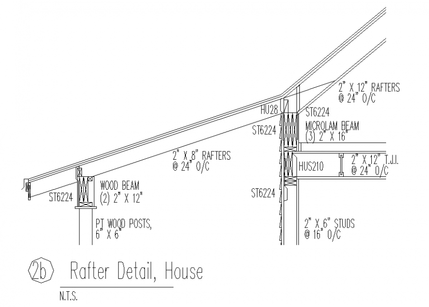 House roof rafter section detail in dwg file.