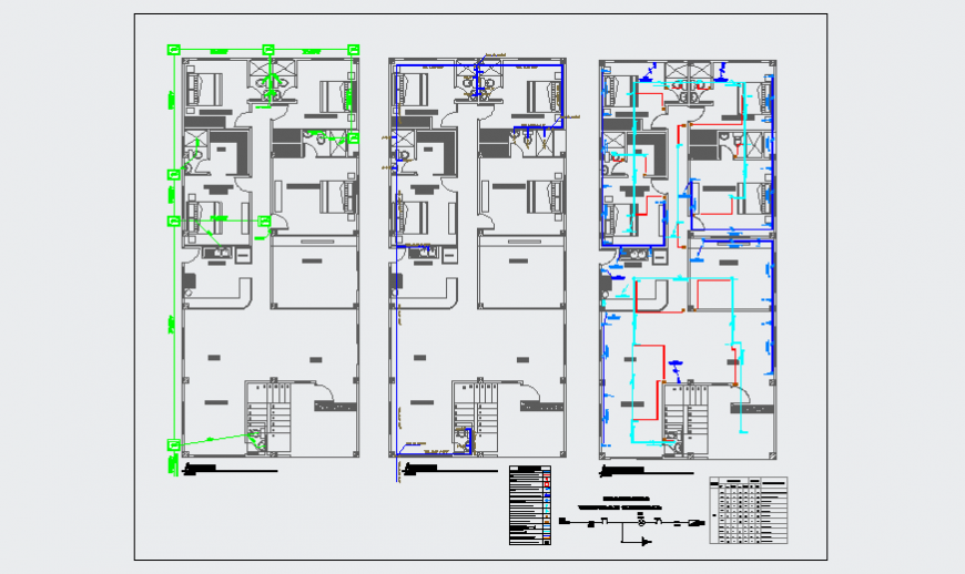 Hydraulic layout design of unifamiliary residence one floor design drawing