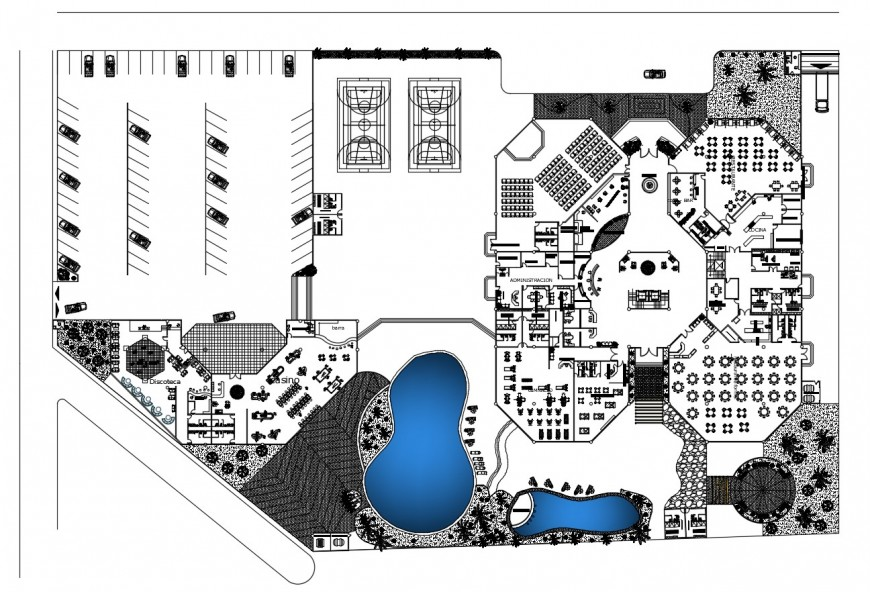 Imperior five star hotel distribution layout plan cad drawing details dwg file