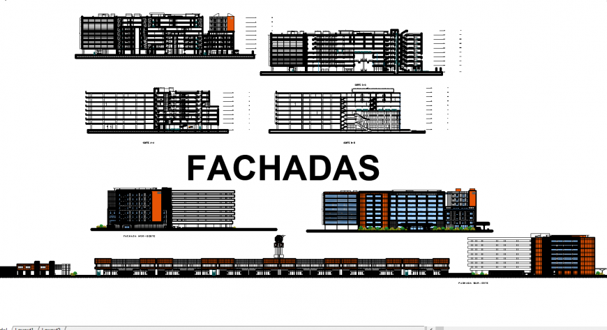 Industrial finance center and administration building all sided elevation and lateral section drawing details dwg file