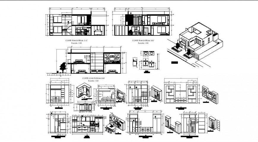 Interior view of house with section view, elevation and isometric in auto cad