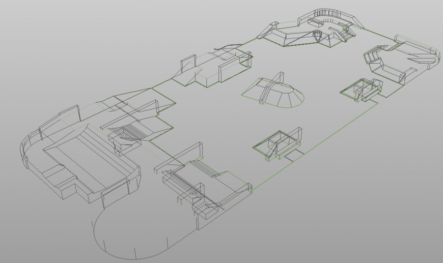 Isometric drawing of park in dwg file.