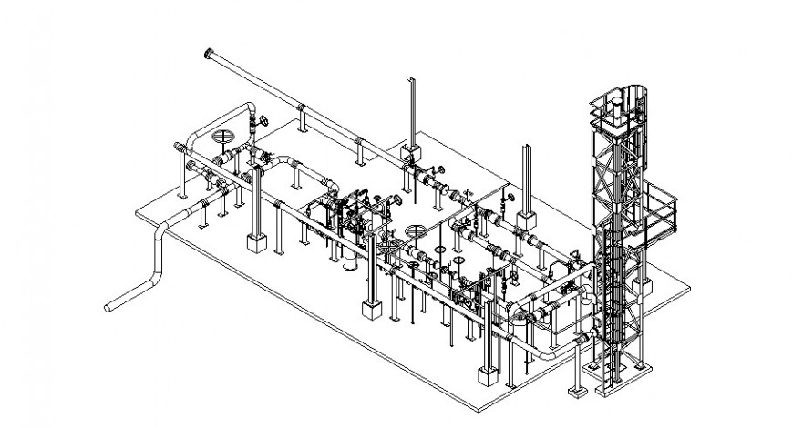 Isometric view of gas mattering station with pipe in auto cad
